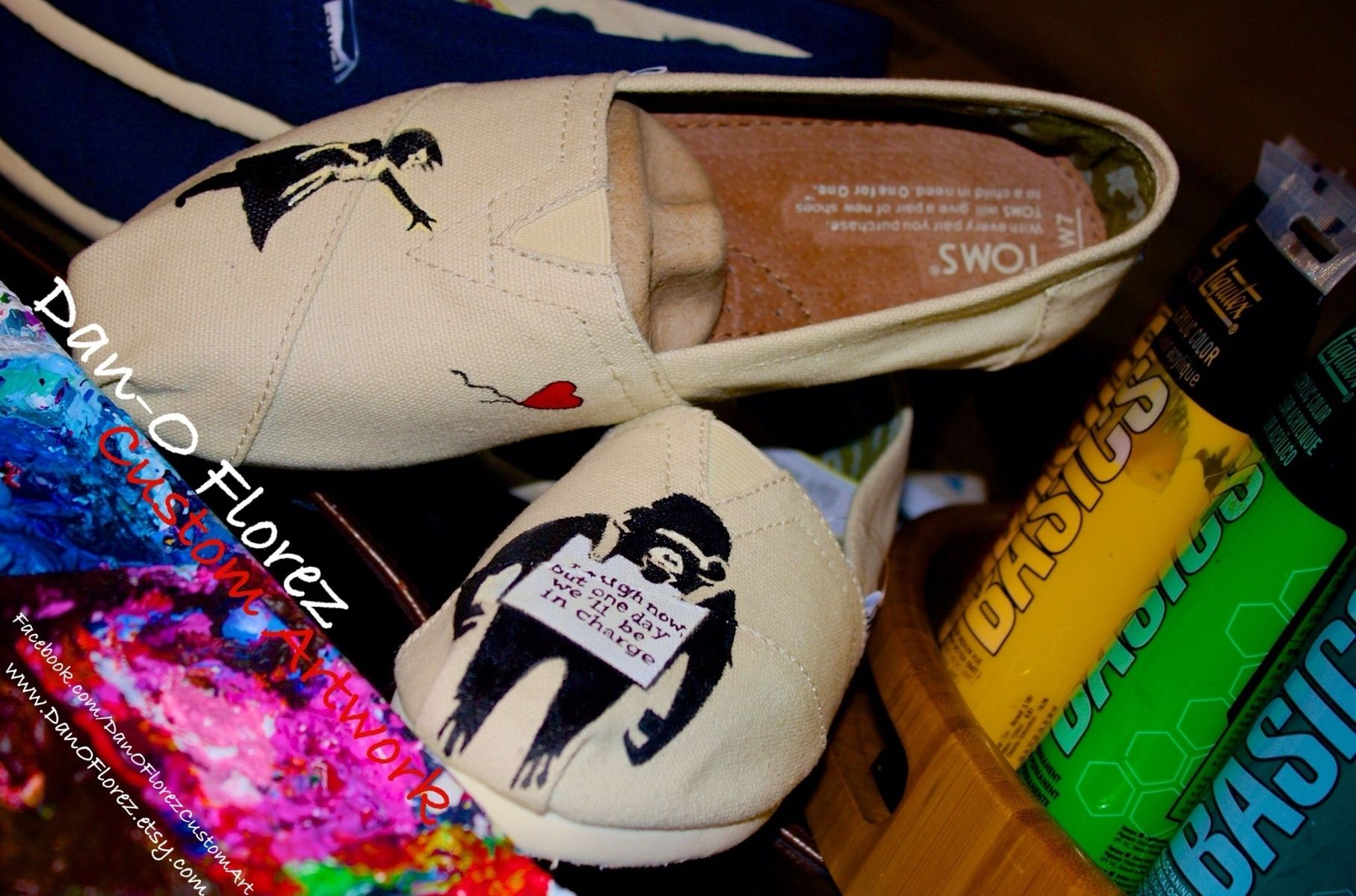 2c70784f777 Hand Crafted Custom Painted Bansky Inspired Toms Shoes by Dan-O ...
