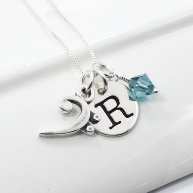 Custom Made Bass Clef Necklace Personalized With Initial And Swarovski Crystal