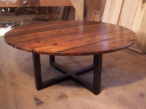 Custom Made Large Round Coffee Table With Industrial Metal Base