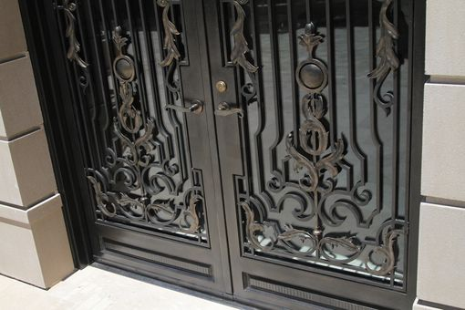 French Exterior Doors Steel: Hand Crafted Hand Forged Wrought Iron Front Entry French