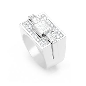 Custom Made Elegant Round And Princess Cut Diamond Men's Ring In 14k White Gold, Diamond Men's Ring