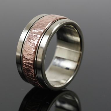 Custom Made Mens White Gold And Copper Wedding Band