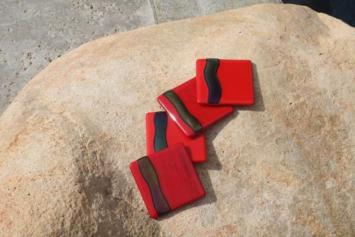 Custom Made Red Glass Coasters In Set Of 4