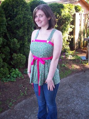 Custom Made Custom-Made Green And Pink Floral Wrap Top