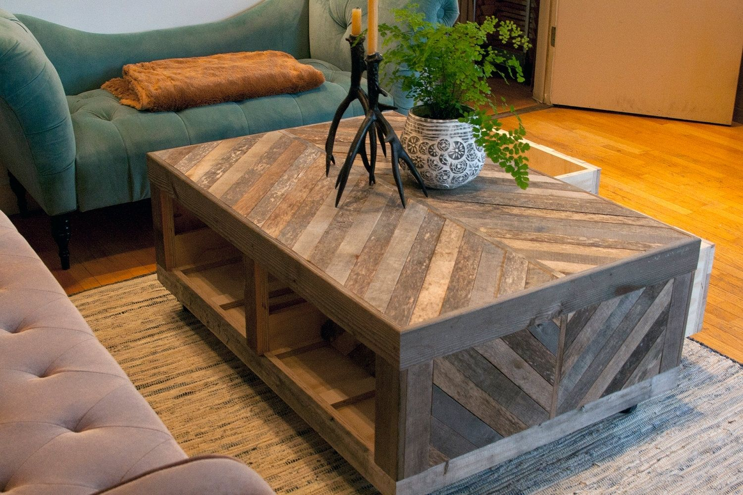 Hand Crafted Rustic Reclaimed Sustainably Harvested Wood Coffee Table With Chevron Pattern By New Antiquity Custommade