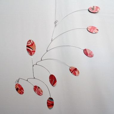 Custom Made Hand Painted Art Mobile In Red- Original Hanging Sculpture - Kinetic Mobile