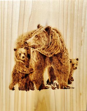 Custom Made Grizzly Bear Wood Burning