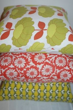 Custom Made Red And Green Vintage 1970'S Floral Pillow Cover - Rare Find