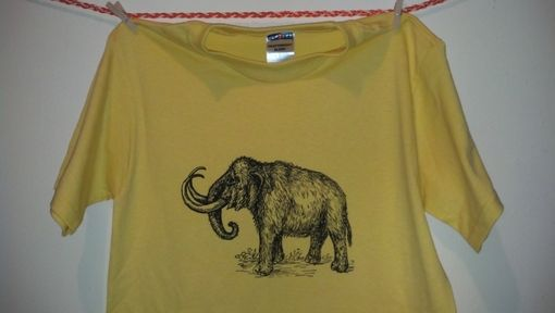 Custom Made Sale Woolly Mammoth Screen Printed T Shirt, Black Ink On Yellow Shirt