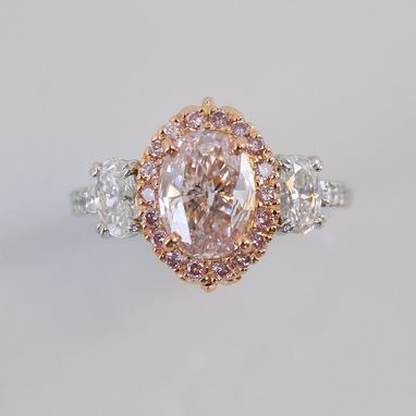 Custom Made Pink & White Diamond Ring
