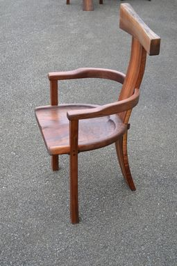 Custom Made Curvy Backed Walnut Arm Chair