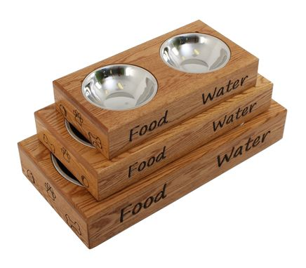 Custom Made Pet Bowls And Wood Feeding Stand