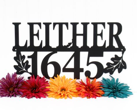 Custom Made Family Name And Address House Number Metal Sign | Oak Leaf | 20 X 11