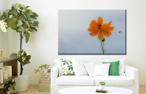 Custom Made Large Wall Art Minimalist Orange Flower Floral Gallery Wrap Canvas Panoramic
