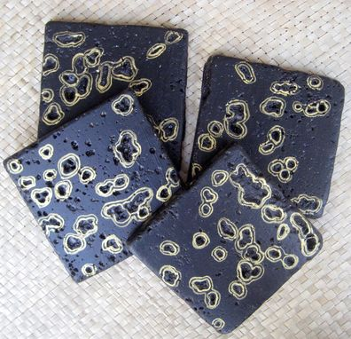 Custom Made Coasters Black And Gold Travertine Tile Handmade-Set Of 4 Black Gold