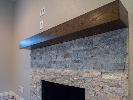 Custom Made Cherry Modern Beam Fireplace Mantel.
