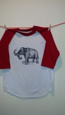 Custom Made Woolly Mammoth Screen Printed T Shirt, Black Ink White And Red Baseball Shirt