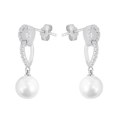 Custom Made White South Sea Pearl Earring With Diamond Accent, Made In 14kt White Gold