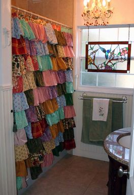 Custom Made Ruffled Shower Curtains - For A Shabby Chic Or Cottage Country Home