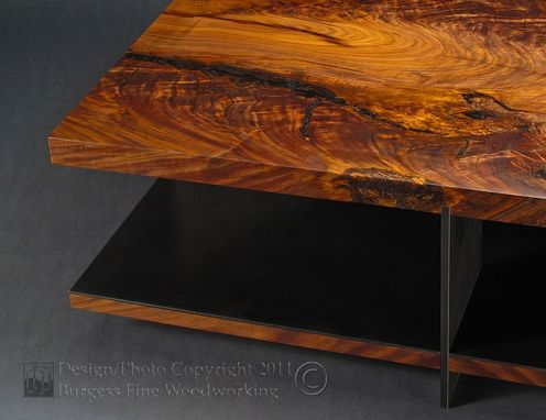 Custom Made Claro-Walnut Coffee Table With Steel Base