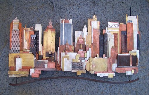 Hand Crafted Metal Skyline Wall Art Manhattan Seattle