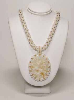 Custom Made Matte/Pearl White & Pale Gold Kumihimo Necklace W/Quartz Druzy Pendant And Matching Earrings