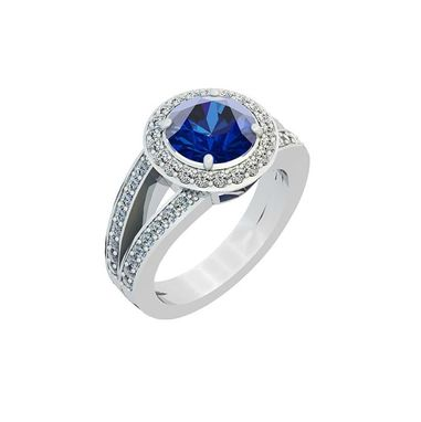 Custom Made Blue Sapphire Engagement Ring