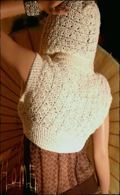 Custom Made Wildish Crochet Hoodie Shrug Sweater Egyptian Cotton
