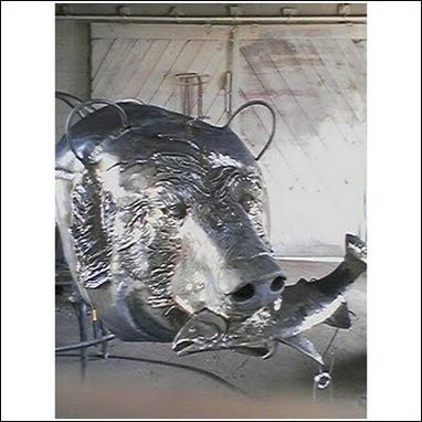 Custom Made Grizzly With Trout, Fabricated Metal Sculpture