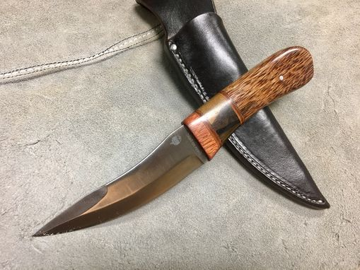 Custom Made Fixed Blade Knife With Cpm S90v Blade, Stabilized Wood Or Antler Handle, & Amish Made Leather Sheath