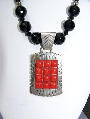 Custom Made Impressive & Dramatic Mediterranean Deep Red Orange Coral Pendant Set In Sterling Silver