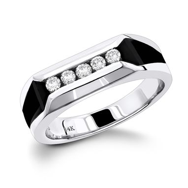 Custom Made 5 Stone Round Diamond With Onyx Mens Wedding Ring