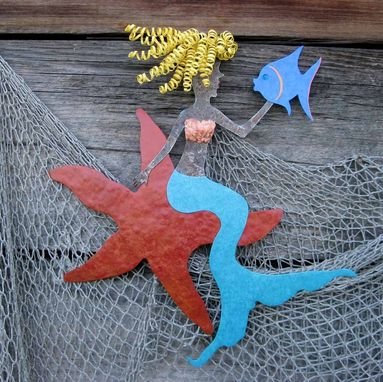 "Custom Made Handmade Upcycled Metal Mermaid On Starfish Wall Art Sculpture ""Stella''"