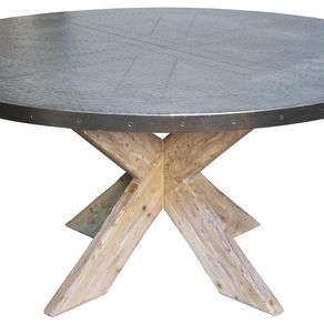 Hayward Zinc Top Round Dining Table With X Base By Jerod Lazan