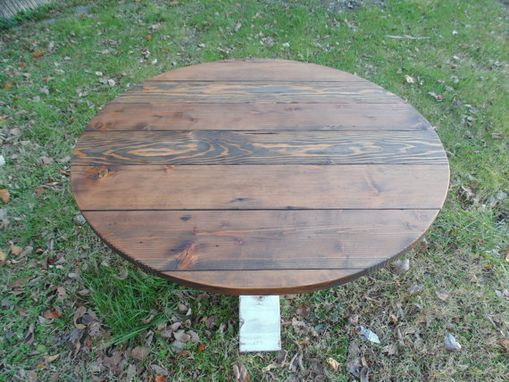 Custom Made Reclaimed Wood Round Urn Pedestal Farmhouse Table