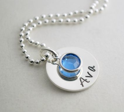 Custom Made Personalized Hand Stamped Sterling Silver Name Necklace With Swarovski Crystal