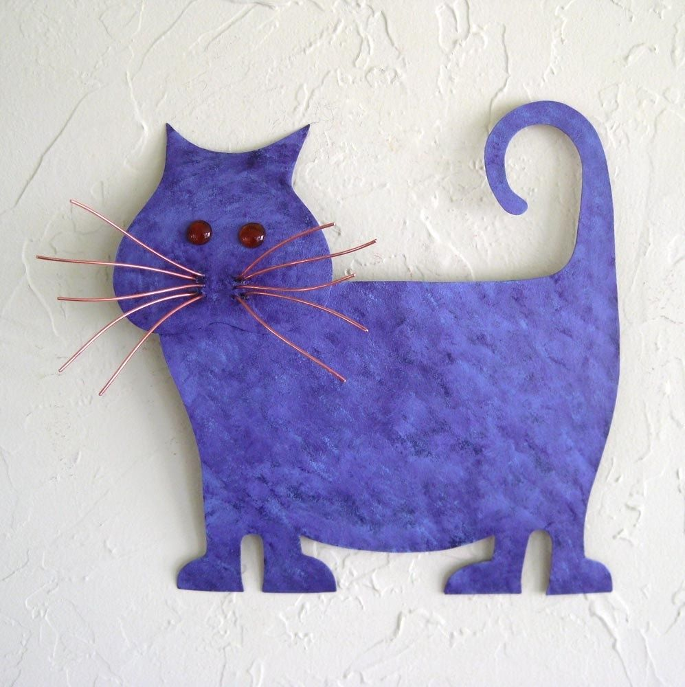 Cat Wall Art buy a hand made upcycled metal purple abstract cat wall art, made