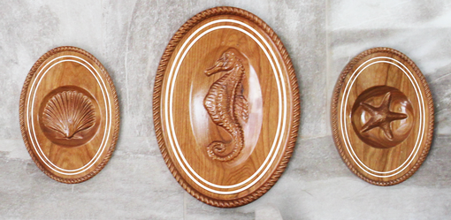 Custom Made Nautical Seahorse Shell Plaque Collection