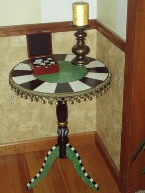 Custom Made Hand Painted Round Pedestal Accent Side Table