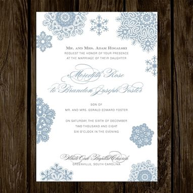 Custom Made Winter Snowflake Wedding Invitations