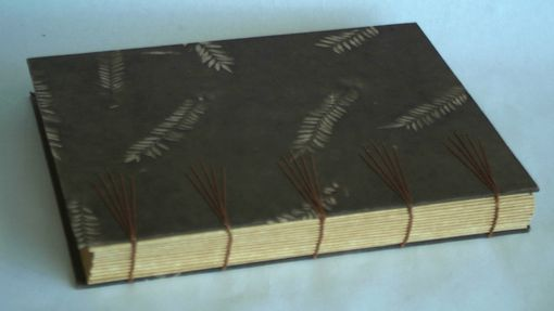 Custom Made Hand Bound Blank Book With Coptic Binding And Decorative Stitching