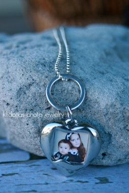 Custom Made Double-Sided Photo Heart Charm Pendant On Ball Chain Necklace