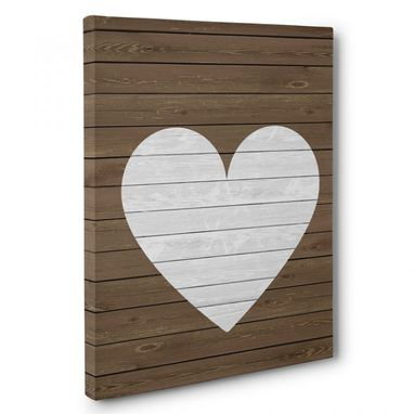 Custom Made Wooden Heart Canvas Wall Art