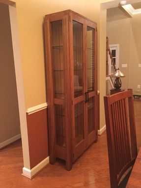 Custom Made Contemporary Mission Oak China Cabinet