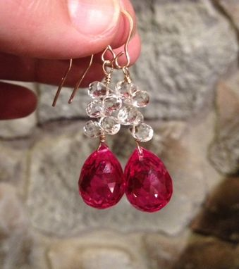 Custom Made Ruby Red Topaz And Pale Aquamarine Gold Filled Wire Earrings