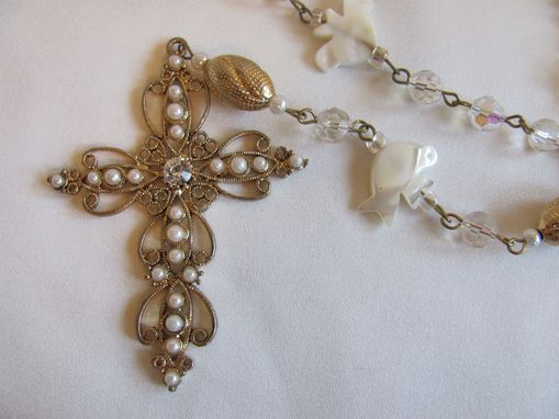 Custom Made Holy Spirit Rosary With Mother Of Pearl Doves