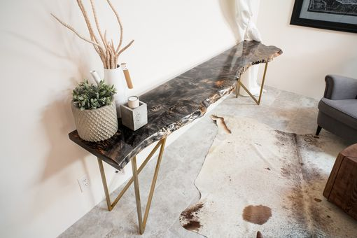 Custom Made Live Edge Wood Slab Modern Rustic Console Table