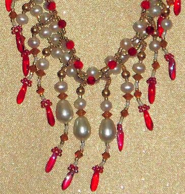 Custom Made Pearls And Crystals Necklace And Earrings Set