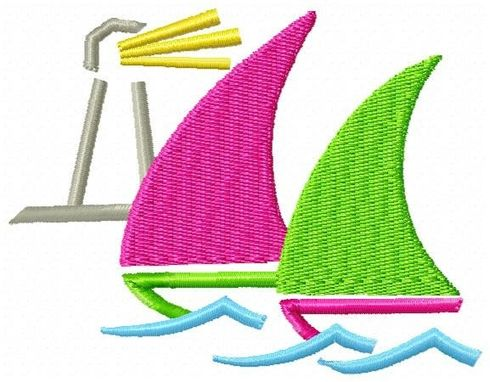 Custom Made 2 Sailboats Embroidery Design
