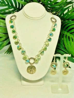 Custom Made Set - Blue-Green Borosilicate Tears & Ss Sand Dollar Pendant Necklace And Earrings